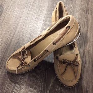 Sperry tan suede topsider wedge 8 1/2